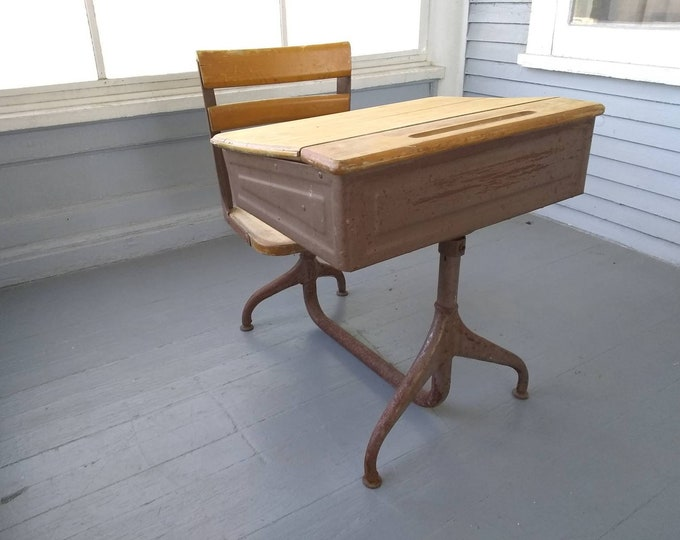 Featured listing image: Antique School Desk Kids Desk and Chair Metal and Wood Homework Desk American Seating Co Desk Furniture Photo Prop RhymeswithDaughter