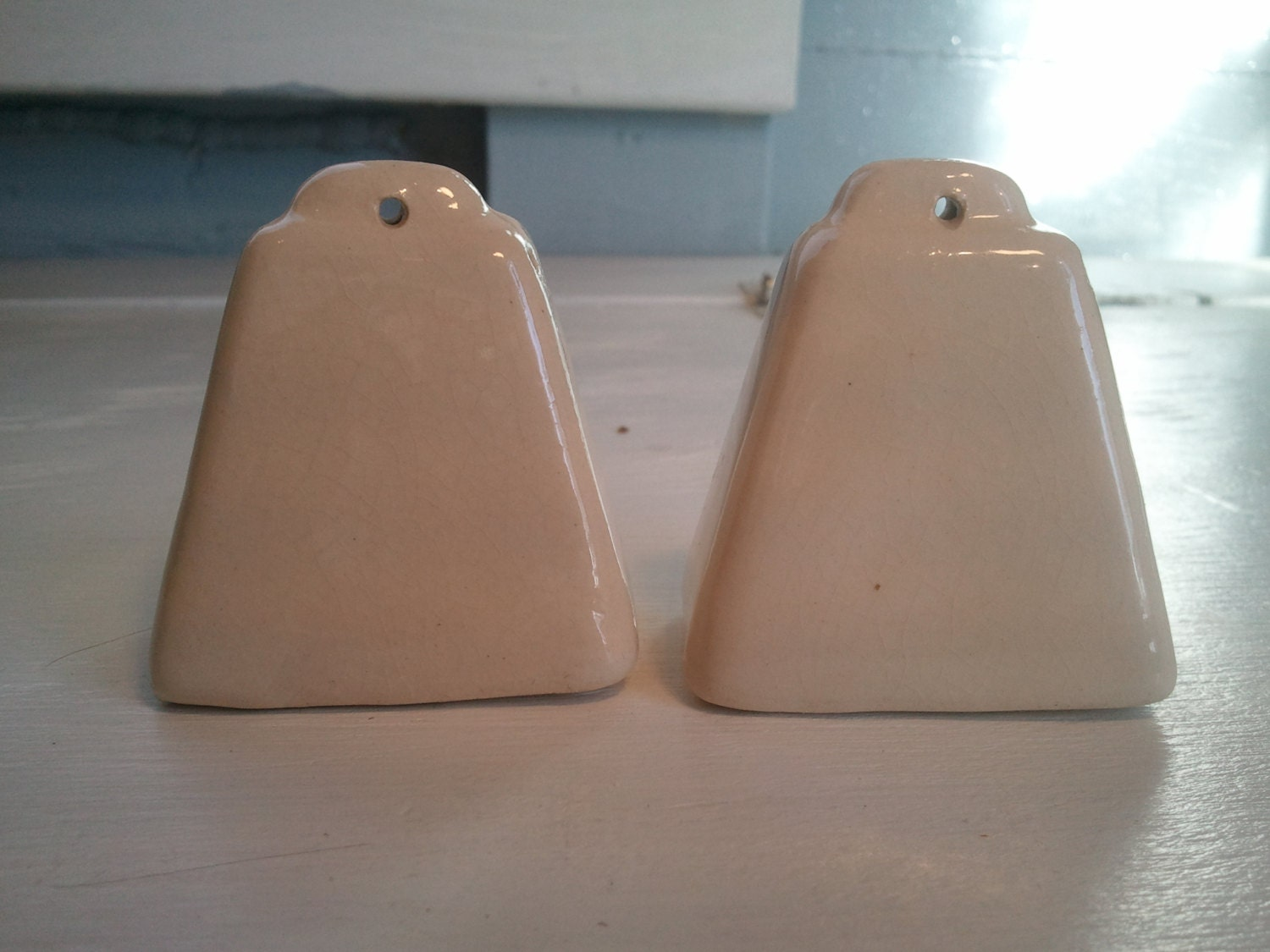 Salt And Pepper Shakers Cow Bell Vintage White Ceramic Farmhouse Country Kitchen Decor Gift Idea Photo Prop Rhymeswithdaughter