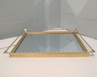Vintage, Mirror, Mirrored Vanity Tray, Vanity Tray, Vanity Mirror, Art Deco, Metal, Decorative, Rectangle, Gold, RhymeswithDaughter
