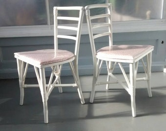 Chairs Dining Accent Side Chairs Wood and Rattan Bent Wood Faux Bamboo Ladder Back Upholstered Painted Furniture White RhymeswithDaughter