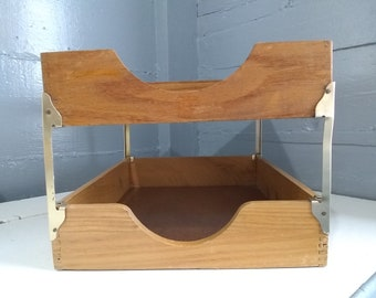 Vintage, Desk Tray, Two Tier, Wood, Paper Tray, Organization, Office, Home Office, Decor, Photo Prop, RhymeswithDaughter