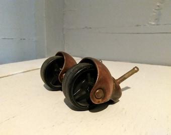 Vintage Casters Wheels Hooded Copper Color Hood Black Plastic Wheels Furniture Wheels Furniture Hardware RhymeswithDaughter