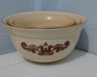 Vintage, Pflatzgraff, Mixing, Bowls, Nesting Bowls, Village Brown 70s Retro Yellow Stoneware Farmhouse Country Photo Prop RhymeswithDaughter