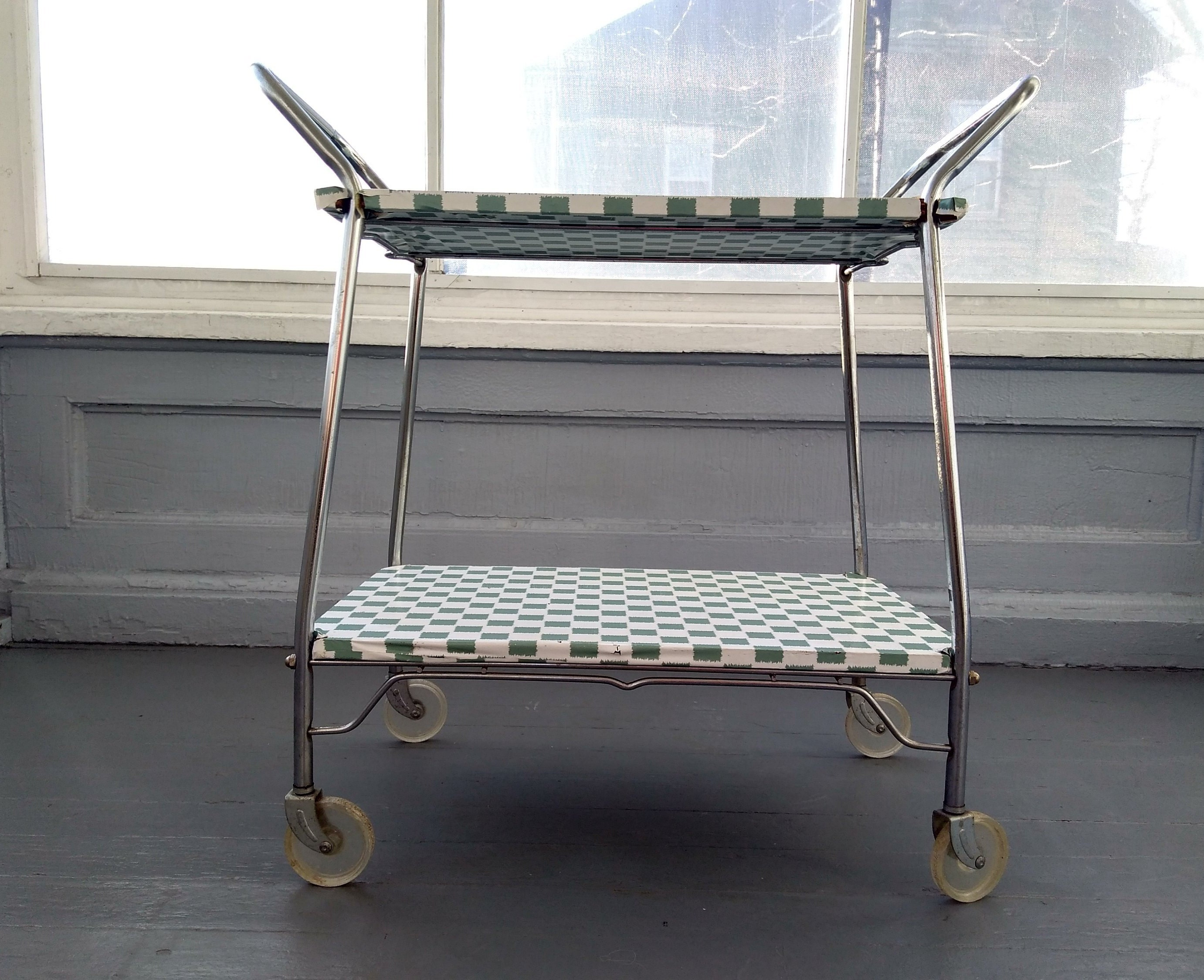 Remarkable Vintage 50S Kitschy Metal Kitchen Cart Pantry Cart Bar Cart Interior Design Ideas Clesiryabchikinfo