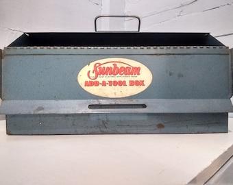 Vintage, Sunbeam, Add A Tool Box, Large, Metal, Blue, Lunch Box Shaped, Storage Box, Metal Box, Display, Photo Prop,  RhymeswithDaughter