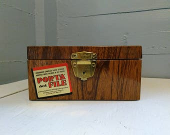 Vintage Porta File Check Box Metal Faux Wood Grain Finish Ballonoff Home Office File Box Records File Photo Prop RhymeswithDaughter