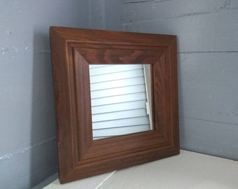 80s Retro Mirror Wall Mirror Square Mirror Wood Framed Mirror Accent Mirror Entrance Mirror Bathroom Mirror Photo Prop RhymeswithDaughter