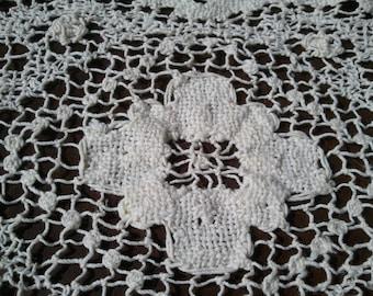 Doily Table Linen Crochet Vintage Rectangle Cotton Table Decor Country Farmhouse Photo Prop  RhymeswithDaughter