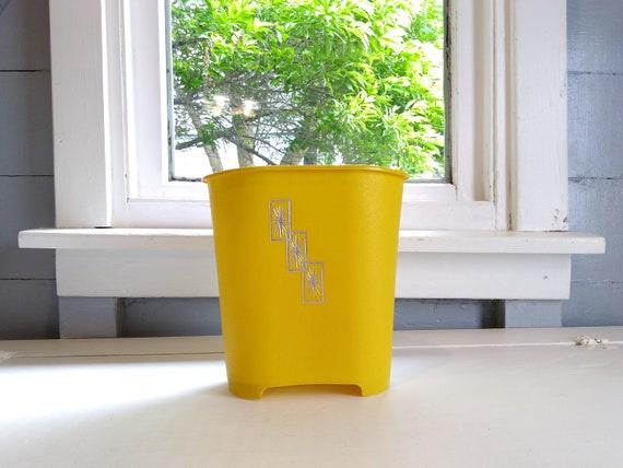 Vintage corbeille peut gaspiller panier étoile argent jaune moutarde ...