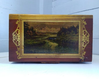 Vintage Decorative Carved Wood Box with Nature Scene, Keepsake Box, Storage Box, Footed, Cedar, Photo Prop, RhymeswithDaughter