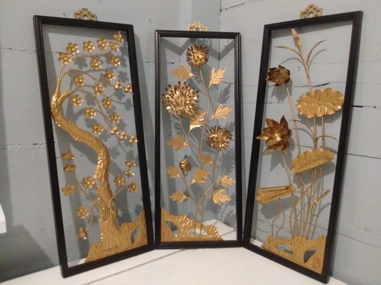 Art, Floral, Framed, 3D, Wall Art, Metal, Sculpture, Set ...