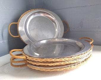 Fajita Plates with Wicker Plate Holders 4 Vintage Cavalier Aluminum Nasco Metal Steak Plates Serving Platter Photo Prop RhymeswithDaughter