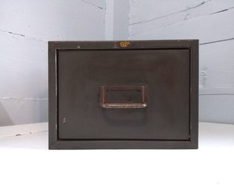Vintage Industrial Metal Single Drawer Card File, Metal Filing Cabinet, File Box, Office Decor, Storage Box, RhymeswithDaughter