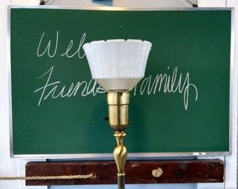 Floor Lamp Rembrandt Vintage Glass and Cloth Shade Torchiere Lamp Lighting 3-Way Mogul Base Metal Brass Finish Photo Prop RhymeswithDaughter