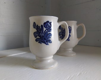 Pflatzgraff Footed Mugs Yorktowne Vintage Country Farmhouse Blue Dishes Stoneware Photo Prop RhymeswithDaughter