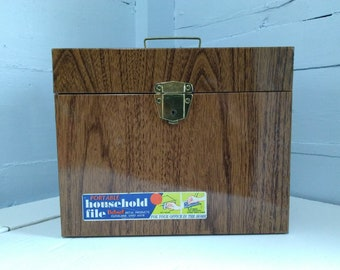 Vintage Portable File Folder Box Port File Box Metal Faux Wood Grain Finish Ballonoff Home Office Records File Photo Prop RhymeswithDaughter