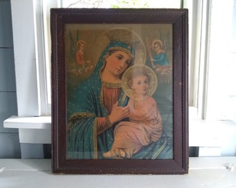 Antique, Religious, Art, Mary and Jesus, Large, Framed, Lithograph, Statement Piece, Christianity, Photo Prop, RhymeswithDaughter