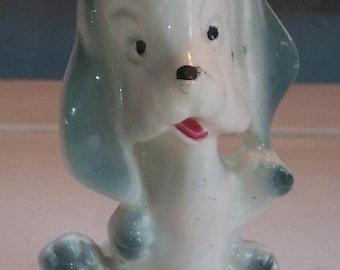 Hound Dog Figurine Porcelain Vintage Nick Nack MidCentury Collectable Light Blue White Gift Idea Home Decor RhymeswithDaughter