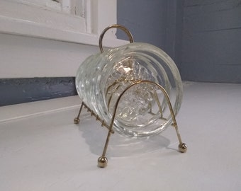 Vintage Glass Drink Coaster Set with Metal Brass Plated Stand MidCentury Modern Hollywood Regency Barware Home Decor RhymeswithDaughter