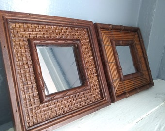 Two, Square, Accent, Wall Mirrors, Mirror, Square, Framed, Small, Wood, Vintage, Home Decor, 80s Decor, Photo Prop,  RhymeswithDaughter