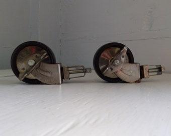 "Vintage 2 1/2"" Black Plastic Locking Swivel Bar Cart Wheels Furniture Casters Lot of Two Hardware RhymeswithDaughter"
