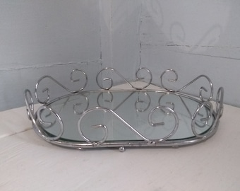 Vintage, Vanity, Mirror, Tray, Oval, Home Decor, Silver, Chrome, Color, Photo Prop, Rhymeswithdaughter