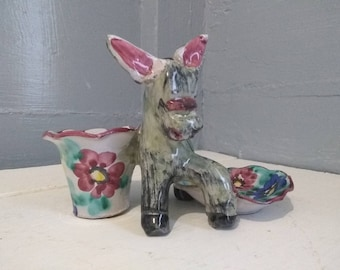 Vintage Glazed Clay Succulent Planter Ring Holder Made in Italy Boho Floral Donkey Home Decor Gift for Her Photo Prop RhymeswithDaughter