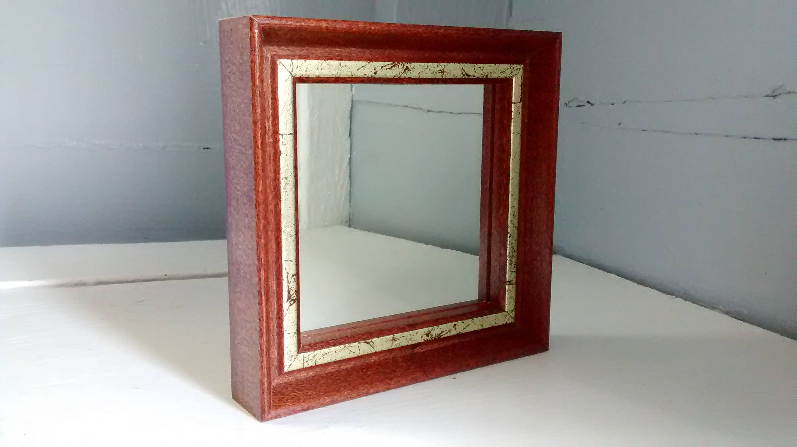 Vintage Darling Square Accent Mirror Wall Mirror Square Framed Small Vintage Home Decor 80s Decor Rhymeswithdaughter