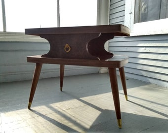 Vintage End Table Side Table  Mid Century Atomic Era Wood Rectangle Two Tier Living Room Furniture Atomic Era Photo Prop RhymeswithDaughter