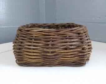 Vintage, Decorative, Square, Basket, Twig Basket, Home Decor, Rustic, Country, Farmhouse, Storage, Photo Prop, RhymeswithDaughter