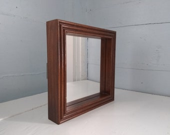 Retro 80s Small Square Mirror Wood Frame Shadow Box  Wall Mirror Accent Mirror Rustic Photo Prop RhymeswithDaughter