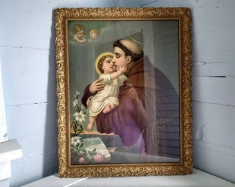 Antique, Art, Wall, Religious, Large, Wood and Gilt, Framed,  Print, Home Decor, Christianity, Photo Prop, RhymeswithDaughter