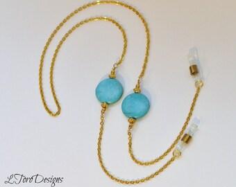 Gold Eyeglass Chain, Glasses Chain, Glasses Lanyard, Turquoise Eyeglass Chain, Women's Eyeglass Chain, Mother's Day Gift, Sunglasses Chain