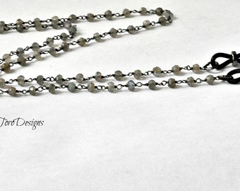 Labradorite eyeglass chain, Eyeglass chain, Glasses Chain, Sunglasses Chain, Glasses Lanyard, Eyewear Lanyard, Grey Glasses Chain, Eyewear