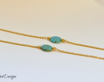 Turquoise and Gold Eyeglass chain, Sunglasses Chain, Women's Glasses Leash, Glasses Necklace, Turquoise, Gold Glasses Chain, Sunglasses Cord