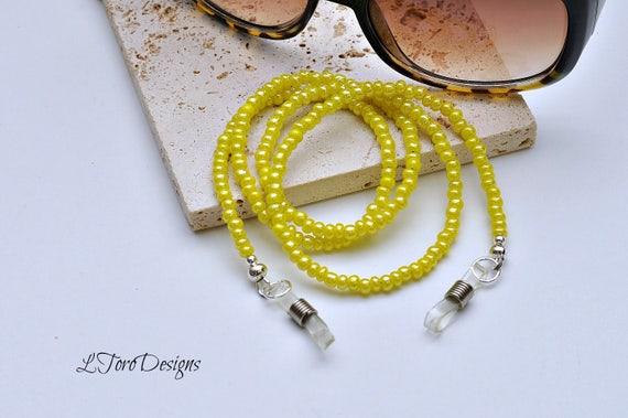große Auswahl an Farben Designermode Outlet zum Verkauf Brillenkette, gelbe Brillenkette, Damen BrilleKette, Perlen Brille Kette,  Leserkette, Sonnenbrille Kette, Brille Leine, Augentragen