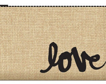 034 Burlap clutch - love