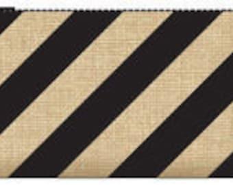 033-BURLAP clutch-black stripes