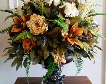 Foyer arrangement etsy extra large silk floral arrangement italian tuscan old world decor dining room foyer entry wedding table centerpiece mightylinksfo