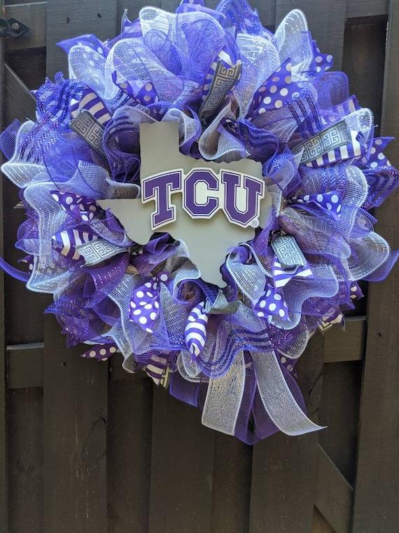 deco mesh wreaths TCU Wreath TCU decor college football wreaths for door college wreath door wreath