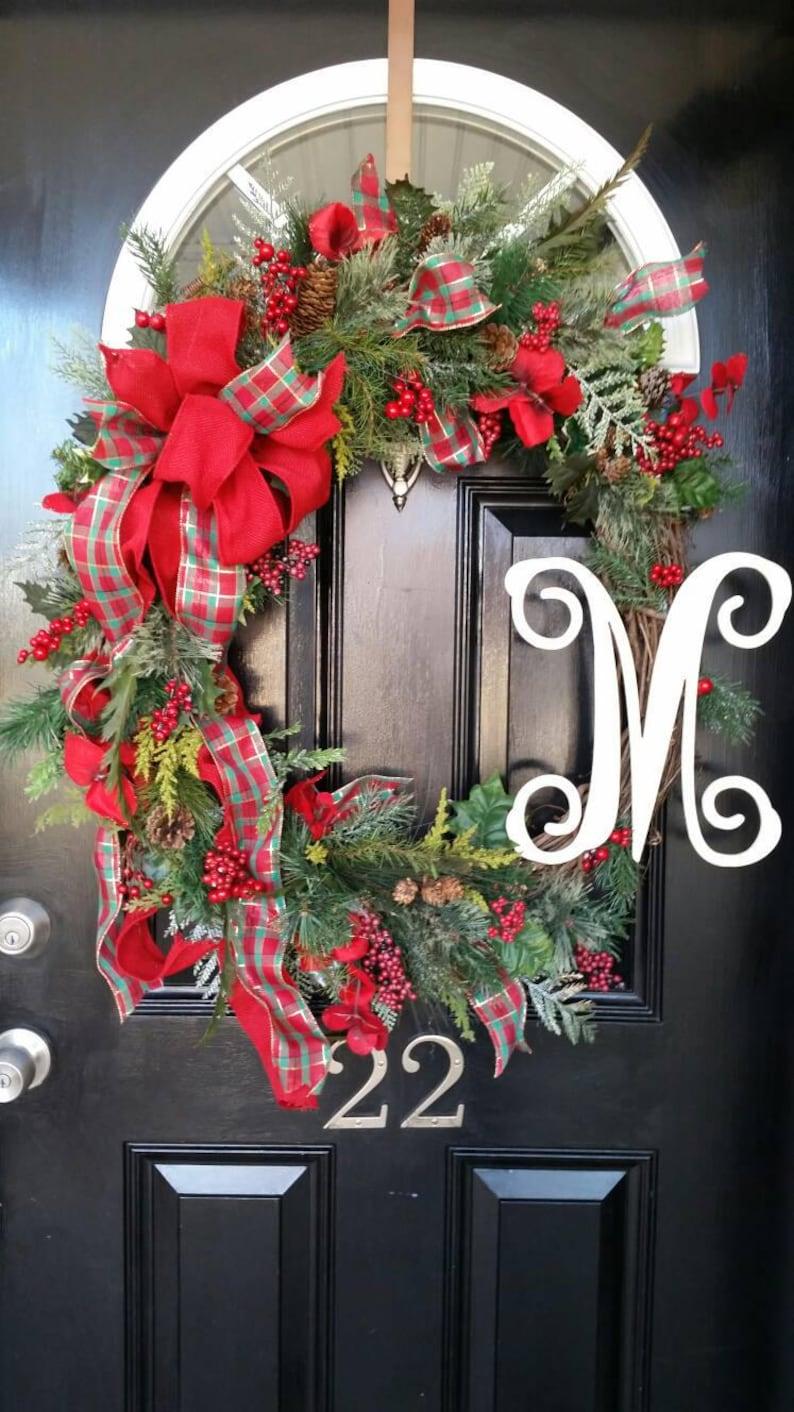 Extra Large Christmas Wreath Monogram Wreath Wedding Wreath Etsy