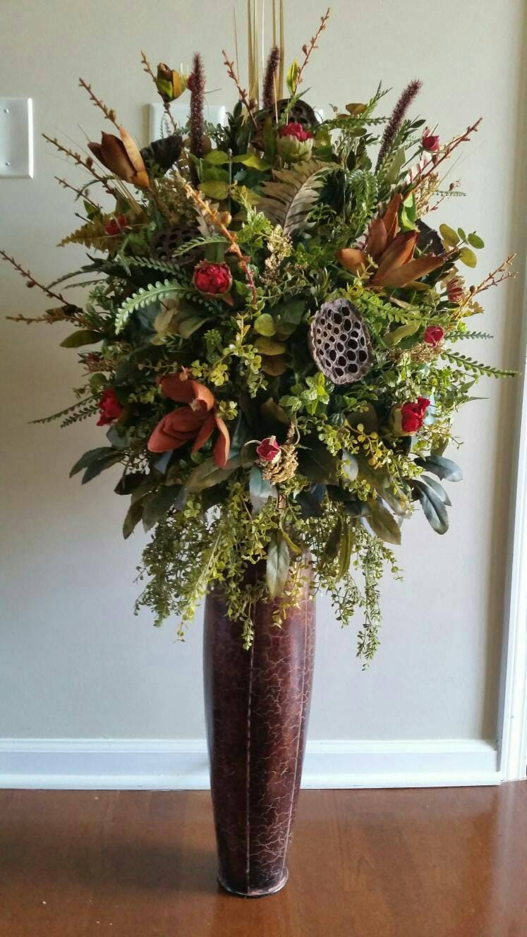Hotel Foyer Flower Arrangements : Extra large silk floral arrangement home office hotel natural etsy