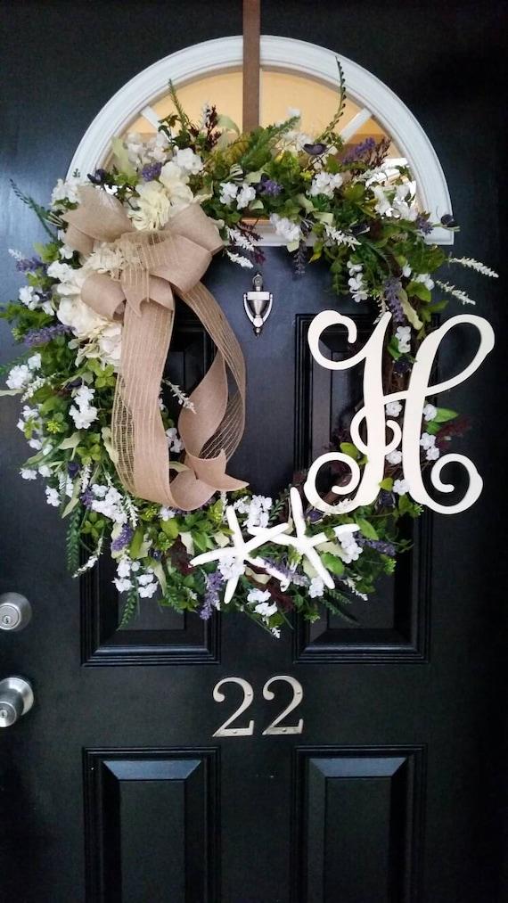 Extra Large Grapevine Wreath Personalized Monogram Initial Hydrangeas Burlap Ribbon Spring Summer Wedding Mothers Day Year Round Door Decor