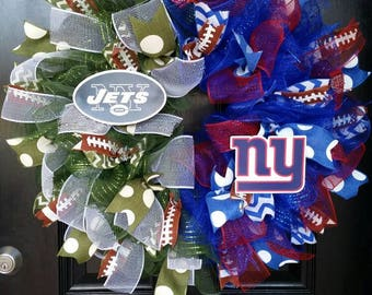 House Divided Wreath Mesh Wreath New York Giants Wreath New York Jets Wreath Team Football Wreath Burlap Ribbon