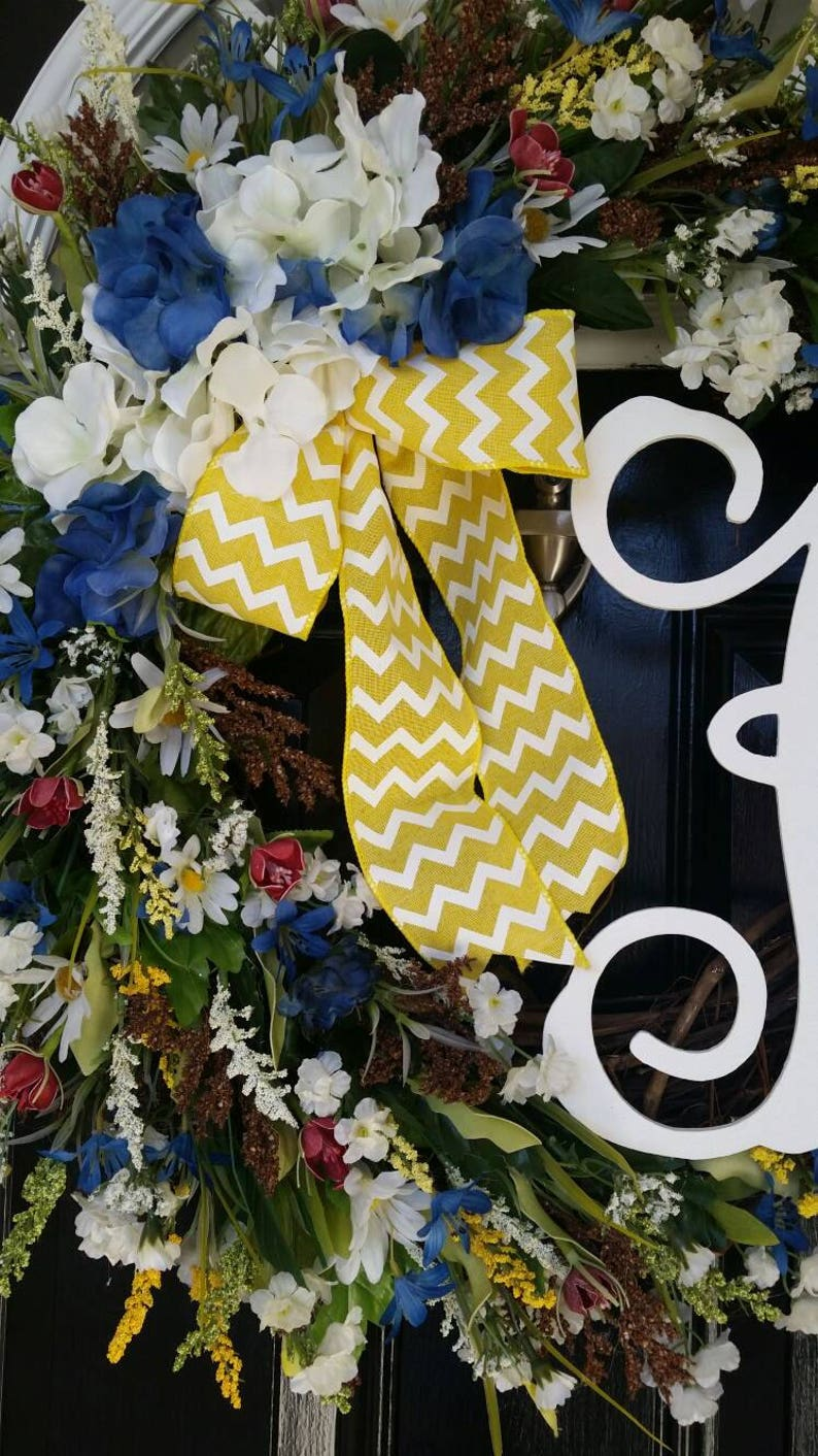 Grapevine Wreath Hydrangeas Personalized Monogram Initial Wedding Church Door Decor Burlap Chevron Yellow Ribbon Spring Summer Year Round