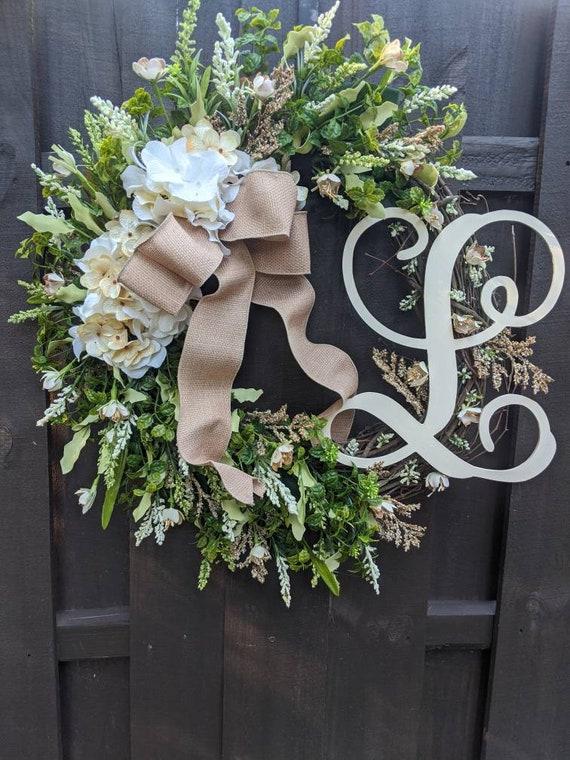 Large Grapevine Wreath Hydrangeas or Magnolias Wreath Monogram Initial Wreath Wedding Decor Wreath Burlap Ribbon Spring Year Round Wreath