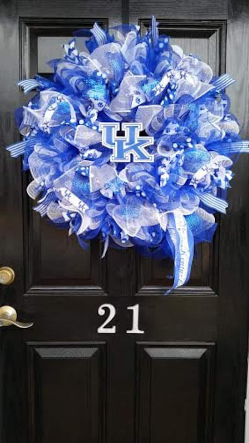 Large Mesh Ribbon Collegiate Wreath University of Kentucky Wildcats College Football Basketball Blue White Burlap Mesh Ribbon
