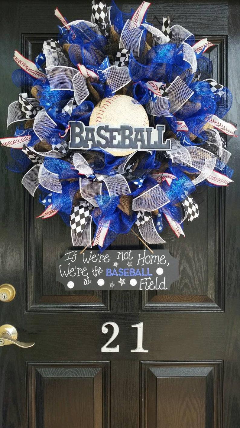 Large Burlap Baseball Wreath Deco Mesh Ribbon Spring Summer Decor Chalkboard Metal Wood Sign If We Don/'t Answer We/'re At The Ballfield