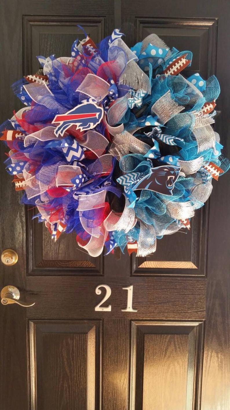 c8c8a597 House Divided Deco Mesh Wreath Football Buffalo Bills Carolina Panthers  Burlap Ribbon