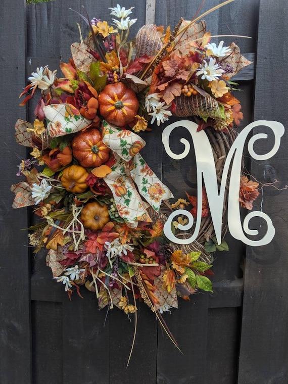 FREE SHIPPING Fall Wreath Autumn Wreath Rustic Door Wreath Farmhouse Wreath Initial Monogram Wreath Pumpkin Burlap Ribbon Wreath